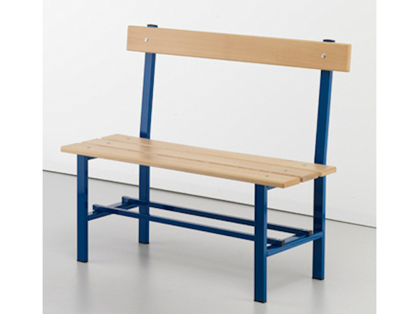 Panca con schienale verniciata, seduta a listoni di legno, MT 1